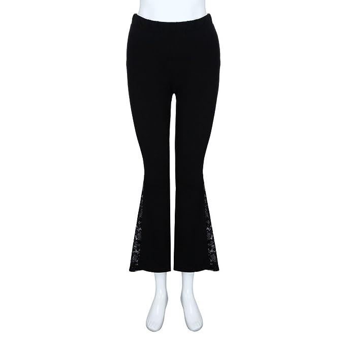 0ef0a98be84156 Topgrowth Pantaloni Donna Vita Alta Pantaloni Larghi Patchwork di Pizzo Casual  Eleganti Elastico Pantaloni Lunghi Flare Pants: Amazon.it: Abbigliamento