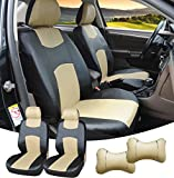 515905 Black/Tan - Leather Like 2 Front Car Seat Covers + 2 Headrest Pillows Compatible to HYUNDAI ACCENT AZERA SONATA SONATA HYBRID SONATA PLUG-IN TUCSON TUCSON FUEL CELL 2018 2017 2016-2007