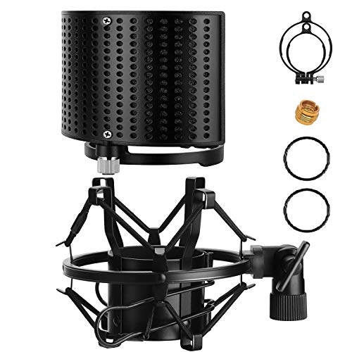 Moukey Microphone Shock Mount with Metal Pop Filter, Universal Mic Shock Mount for 49mm-54mm Diameter Mic Compatible for AT2020 /AT2020USB Anti-Vibration Suspension Shock Mount with Screw Adapter