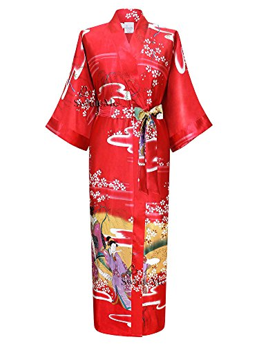 Swhiteme Women's Kimono Robe, Long, One Size, Geisha, Red