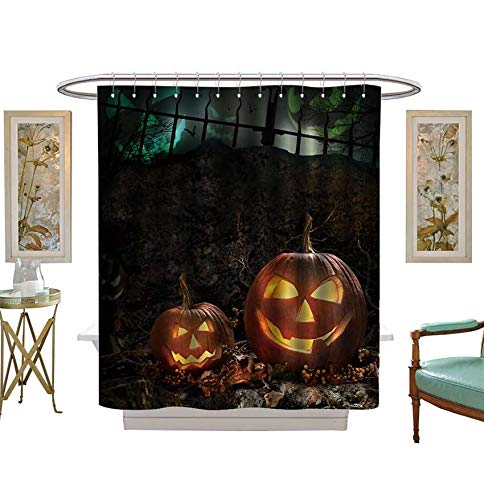 Shower Curtains 3D Digital Printing Halloween Pumpkins on Rocks in a Forest at Night Bathroom Set with Hooks Size:W36 x L72 inch ()