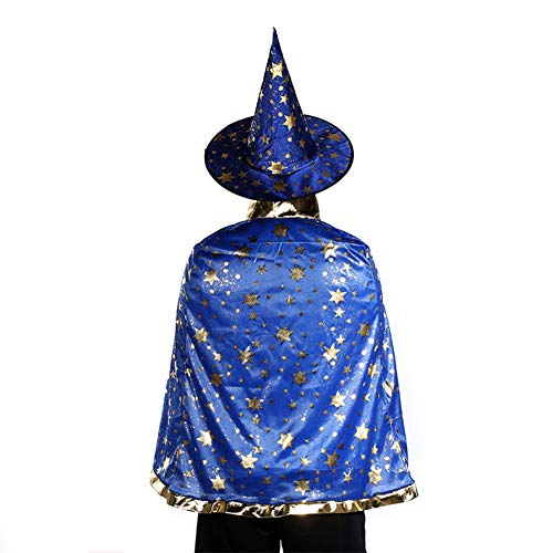 Faironly 80CM Adult Children Party Dress Cape Star Pattern Cosplay Cloak Prom Props Blue
