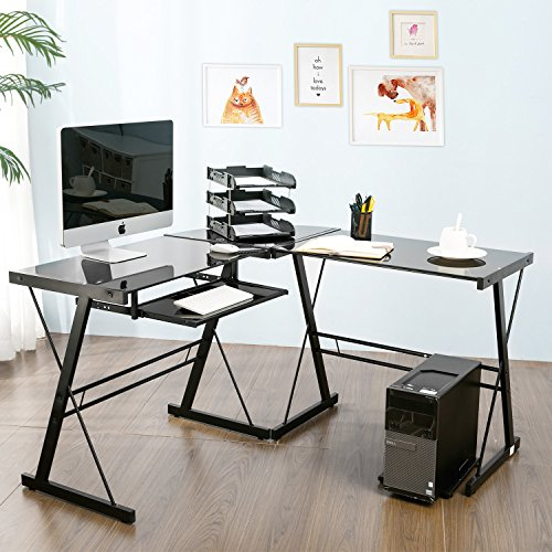 Modern Luxe by Merax Glass L-shaped Corner Desk Office Modern Home Computer Desk Multi Function Desk PC Laptop Table Workstation, - Return Frames Direct Policy