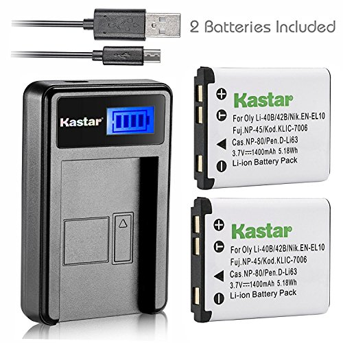 Kastar Battery 2Pack & LCD USB Charger for Pentax D-Li63 DLI63 and Pentax Optio M30 T30 W30 L36 L40 LS456 LS1000 LS1100 M40 M90 NB1000 RS1000 RS1500 V10 Pentax Efina (T30 Usb)