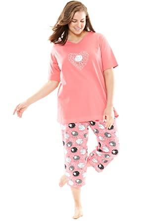 Dreams & Co. Women's Plus Size 2-Piece Capri Pajamas at Amazon ...