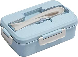 Bento Box Wheat Straw Lunch Box Portable Food Storage Container with 3 Compartments Fork Spoon for School Office Blue