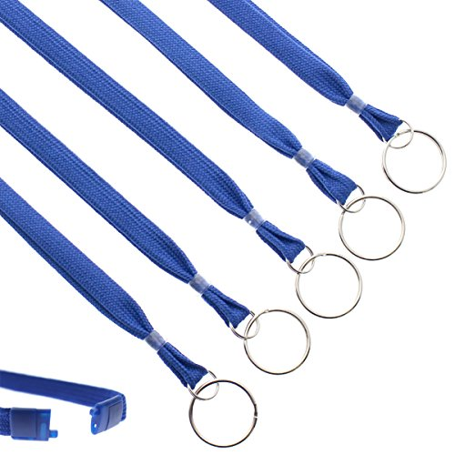 Bulk 100 Pack - Heavy Duty Breakaway Lanyards for Keys and Id's with Key Chain Split Ring - Break-Away Clasp and Keychain Keyring/ID Holder Attachment at Bottom by Specialist ID (Royal Blue)