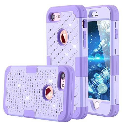 iPhone 7 Case, LONTECT Hybrid Heavy Duty Shockproof Diamond Studded Bling Rhinestone Case with Dual Layer [Hard PC+ Soft Silicone] Impact Protection for Apple iPhone 7 (Purple)