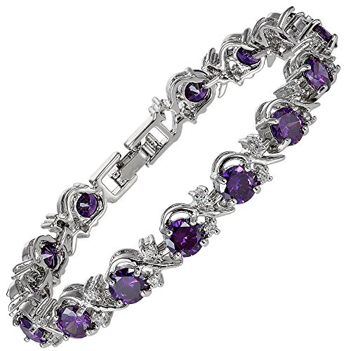 RIZILIA Blossom Round Simulated Purple Amethyst and White Cubic Zirconia 18K White Gold Plated Tennis Bracelet, ()