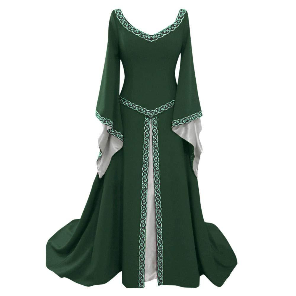 Sunyastor Dresses,Women's Renaissance Costume Medieval Dress Vintage Cosplay Dress Queen Gown Role Play Dress Up Clothes Green