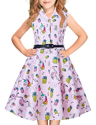 Big Girls Sweetheart Princess Dress Unicorn Yellow Pineapple Orange Purple Blue Horse 1940s 1960s 80s Teens Junior Sleeveless Ruffles Dresses Casual Custome for Prom Dressing Up Party 12-14 Years Old -