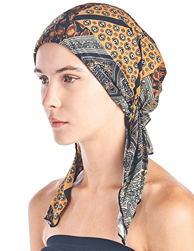 Scarf Tied Fashion (Ashford & Brooks Women's Pretied Printed Fitted Headscarf Chemo Bandana - Brown/Yellow)