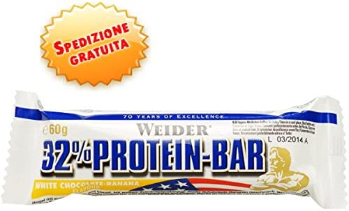 Weider White Chocolate Banana 60g 32 Percent Protein Bar - Pack of 24 Bars by Weider
