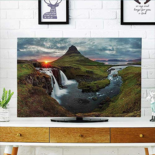 L-QN Cord Cover for Wall Mounted tv Waterfall Landscape Iceland SunMountain Volcanic Area Natural auty Nobo Cover Mounted tv W19 x H30 INCH/TV 32