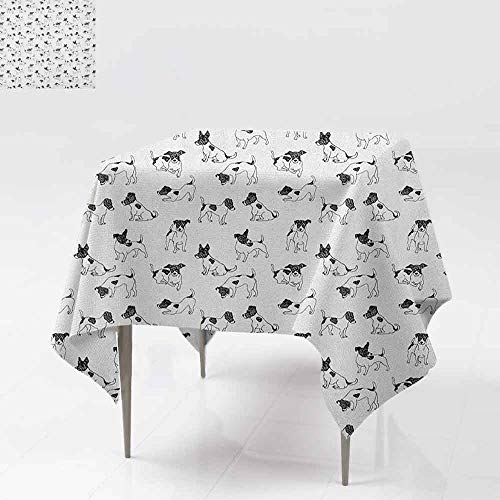 SONGDAYONE Printed Square Tablecloth Dog Lover Sketch Style Hand Drawn Jack Russell Terrier Doodles in Various Stances Purebred Daily use Black White W54 xL54
