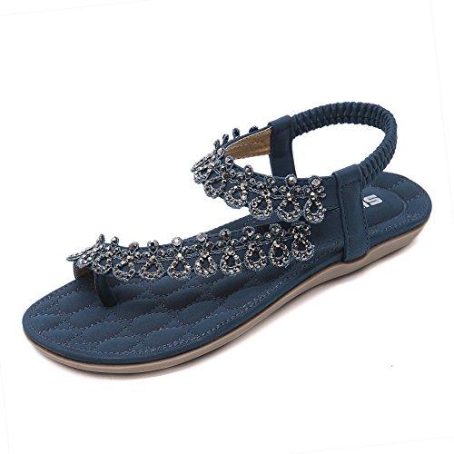 CARETOO Ladies Flat Sandals Shoes, Women Fashion T Strap Summer Flip Flops Sandal, Rhinestone Bling Backstrap Beach Sandal