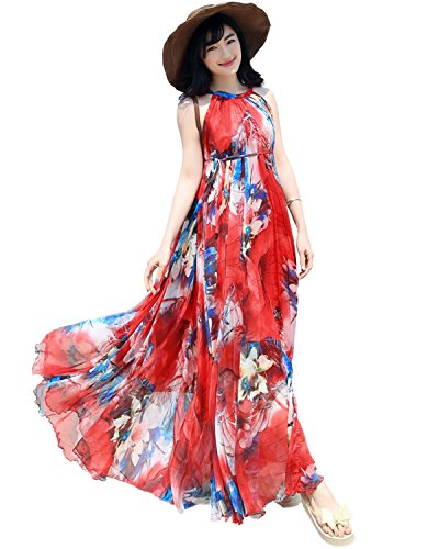 Medeshe Women's Chiffon Floral Holiday Beach Bridesmaid Maxi Dress Sundress (X-Large, Red Floral) -