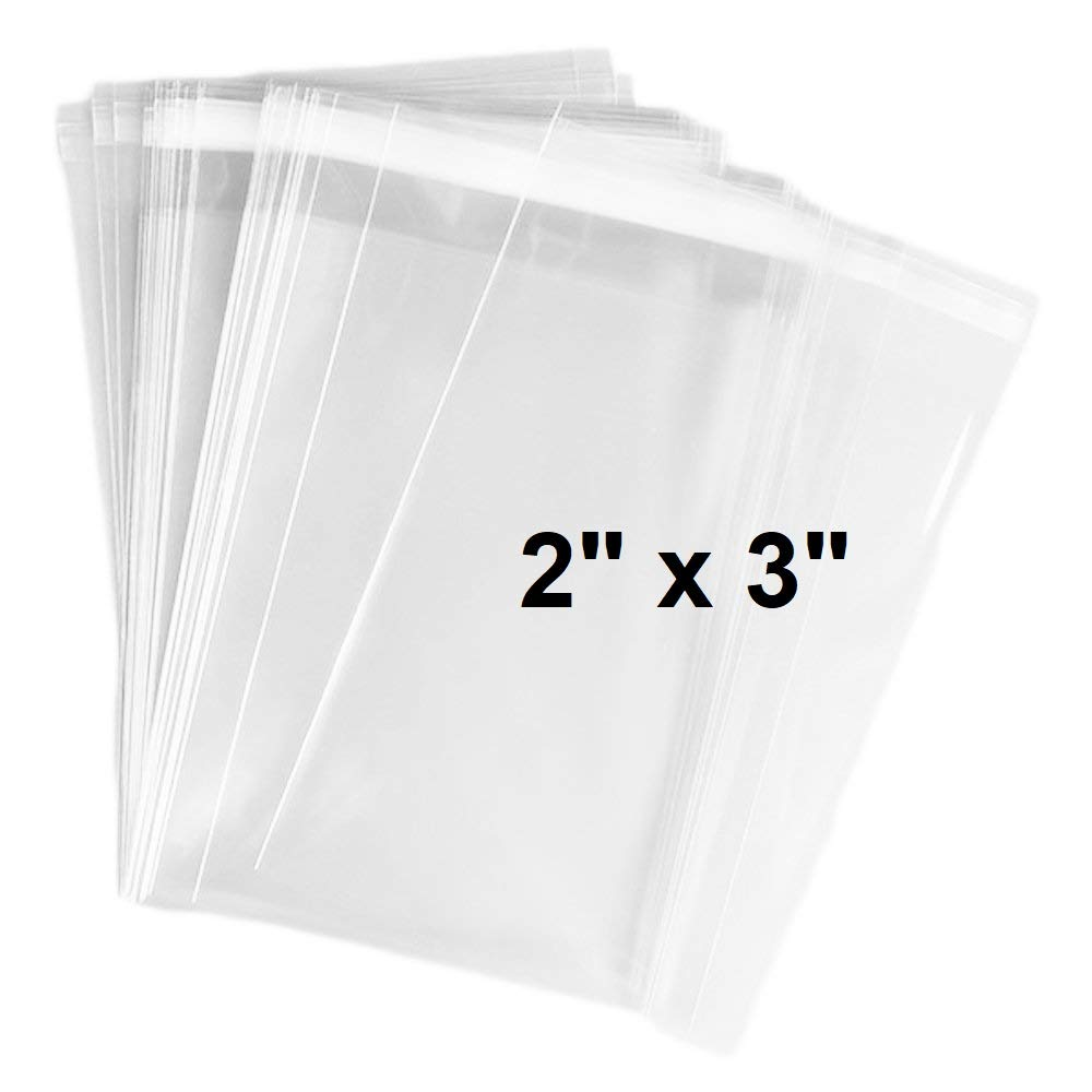 200 Pack Clear Resealable Cellophane Bags - Thick 2 MIL Glossy Self Seal Cello Bag for Gifts, Food, Soap, Candles and Bakery Goods (3
