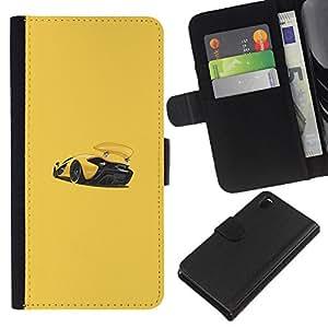 KLONGSHOP // Tirón de la caja Cartera de cuero con ranuras para tarjetas - Sports Car Racing Amarillo - Sony Xperia Z3 D6603 //