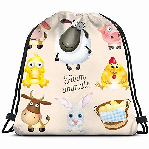 - Farm Life Cartoon Fun Animals Wildlife Drawstring Bag Backpack Gym Dance Bag Reversible Flip Sequin Bling Backpack For Hiking Beach Travel Bags