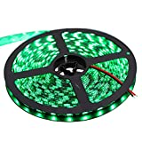 XKTTSUEERCRR 16.4ft/5M, Black PCB 5050 SMD 300LED, IP65Waterproof LED Light Strip for Outdoor/Indoor/Car/Booth/Stage/House Celebration Decoration + DC Connector (Power Supply Not Included)-Green