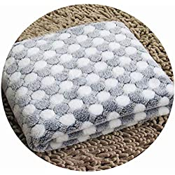cola-site Soft Flannel Pet Dog Blanket Dots Printed Breathable Dog Cat Bed Mat Warm Pet Sleeping Cushion Cover for Pet Dog Cat Products,Black,M