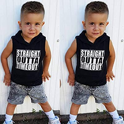 Toddler Baby Boy Girl Kids Sleeveless Letter Printed Pullover Hoodies Tops T Shirt Blouse Hoodie Clothes: Clothing