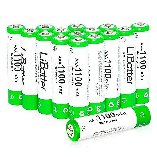 LiBatter 16Pack AAA 1100mAh Ni-MH Rechargeable Batteries