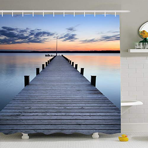 Sunset Dock - Ahawoso Shower Curtain 72x72 Inches Freedom Jetty Lake Sunset Long Wooden Pier Nature Footbridge Dock Parks Atmosphere Boardwalk Cloud Dawn Dusk Waterproof Polyester Fabric Set with Hooks