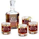 Personalized 5 pc Whiskey Decanter Set - Decanter and 4 Glasses Gift Set - Custom Engraved with Fancy Design