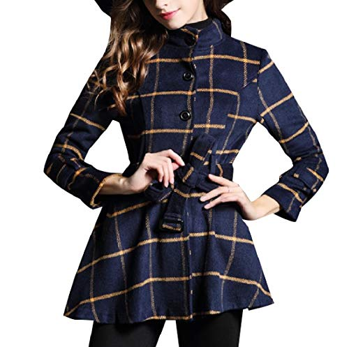 (Zimaes-Women Fall Winter Belted Wool Blended Premium Plaid Duffle Coat AS1 L)