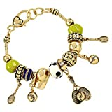 Ladies Tennis Ball Hat Racket Charm Bracelet