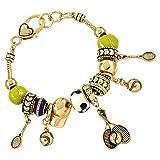 Ladies Tennis Ball Hat Racket Charm Bracelet