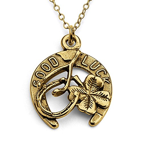 Azaggi Gold Plated Sterling Silver Handcrafted Lucky Talisman Horseshoe Wishbone and Four Leaf Clover Pendant Necklace (24)