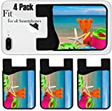 Liili Phone Card holder sleeve/wallet for iPhone Samsung Android and all smartphones with removable microfiber screen cleaner Silicone card Caddy(4 Pack) toys for childrens sandboxes against the sea