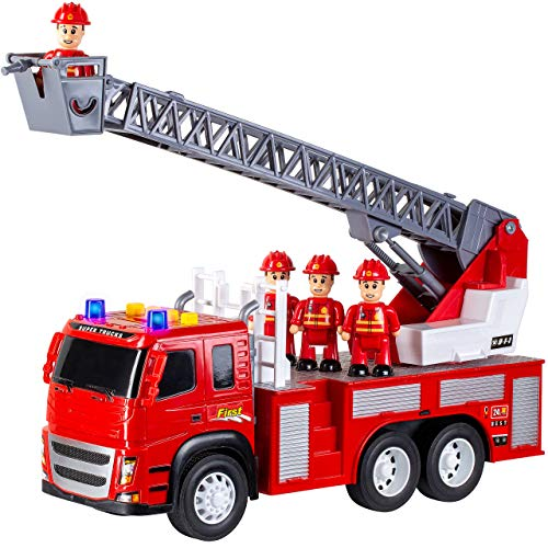 TOYMEMBER Toy Fire Truck for Boys Girls and Toddlers - Large Fire Engine Firefighter Toys - with Lights Sirens and 4 Firemen - Durable Friction Powered Fire Truck for Kids - Red Toddler Fire Truck