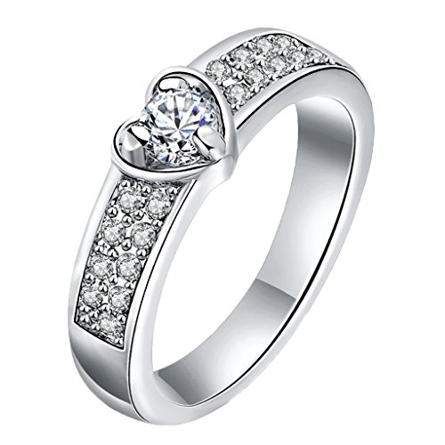 Cut Ladies Diamond Engagment Ring (Aienid Stainless Steel Promise Rings for Women Heart Eternity Love Engagment Wedding Ring Size 9)