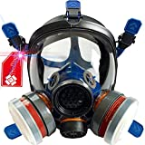 Full Face Organic Vapor Respirator - Bio Gas Respirator for Survival and Emergency - Double Activated Carbon Air Filter For Paint Spray Woodworking
