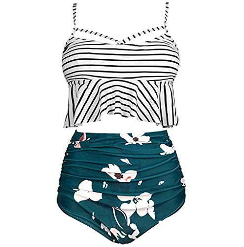 (Zlolia Women Floral Print High Waisted Swimsuits Tummy Control Two Piece Tankini with Push Up(S-5XL))