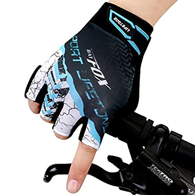 Batfox Mountain Road Bike Cycling Gloves Half Finger Gel Padded,Silicone Gripper, Comfortable Wear Resistant Leather Palm,High Elastic Breathable Fabric, Pull Tab,Great Fit