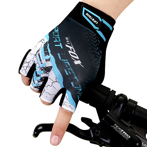 Batfox Mountain Road Bike Cycling Gloves Gel Padded,Silicone Gripper, Comfortable Wear Resistant Leather Palm,High Elastic Breathable Fabric