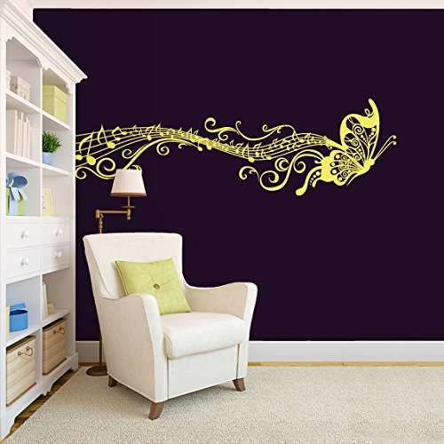 CreativeWallDecals Wall Decal Vinyl Sticker Decals Art Decor Design Notes Pattern Damask Music Treble Clef Flowers Butterfly Vintage Juzz Dorm Bedroom ()