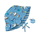 i play. Baby Reversible Bucket Sun Protection Hat, Light Blue Pirate Ship, 9-18 Months