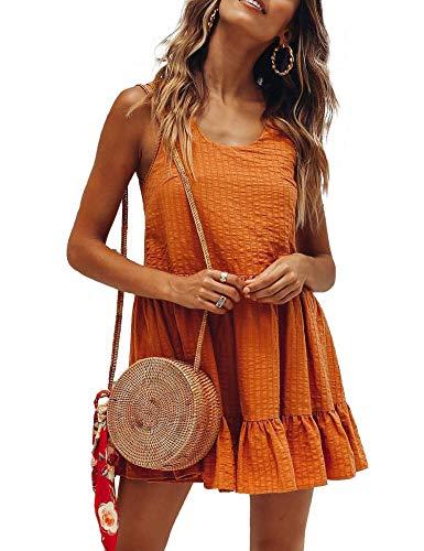 Relipop Women's Dresses Jacquard Crewneck Sleeveless Ruffle Hem Cotton Tunic Short Mini Puffy Dress Red