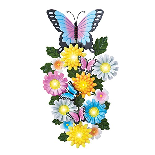 Colorful Lighted Butterfly Floral Sculpted Metal Wall Art Décoration (Sconce Floral Arrangements Wall)