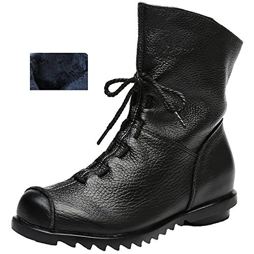 Genuine Leather Snow Boots - Women's Genuine Leather Casual Soft Flat Boots (10 B(M) US, Black- Fur-Lined)
