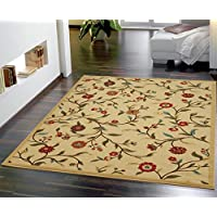Ottomanson Ottohome Collection Floral Garden Design Non-Skid Rubber Backing Modern Area Rug, 5 X 66, Beige