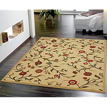 Amazon Com New Garden Ivory Floral Design Rubber Backed