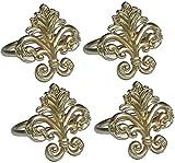 Manor Luxe Fleur de Lis Elegant Metal Napkin Rings, Set of 4, Gold