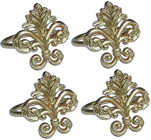- Manor Luxe Fleur de Lis Elegant Metal Napkin Rings, Set of 4, Gold